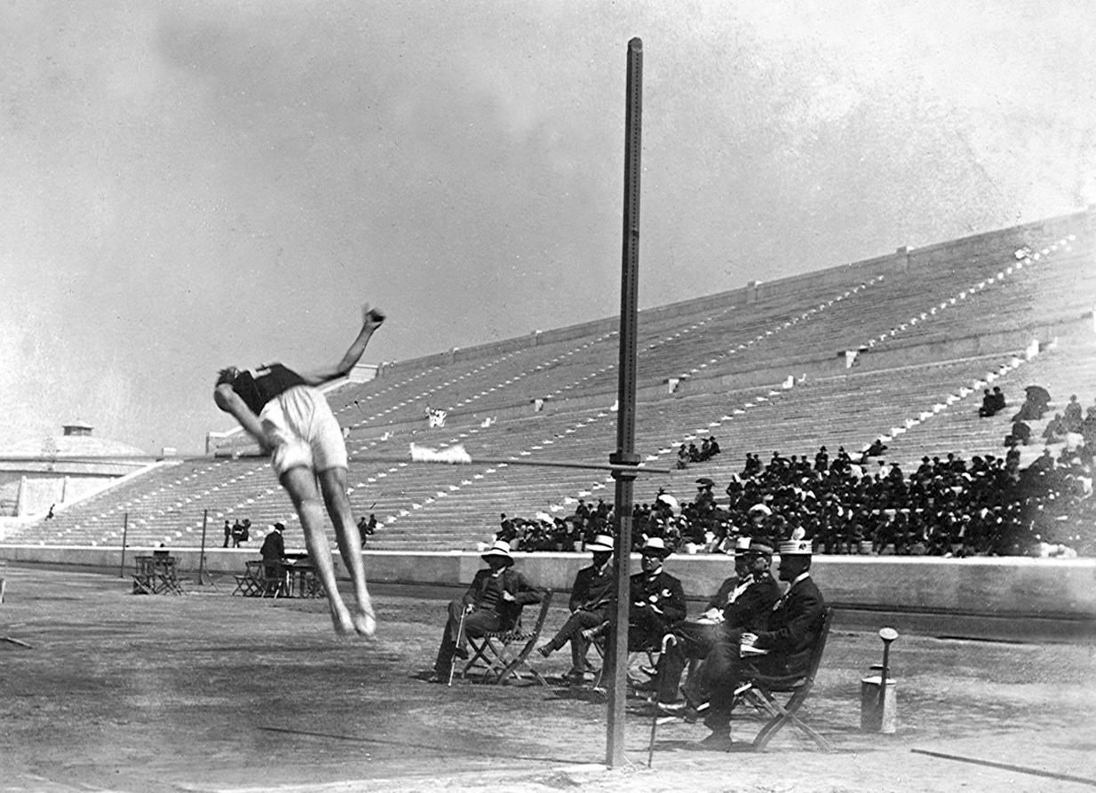 """Gönczy Lajos a nem hivatalos 1906-os athéni olimpián bronzérmet szerzett """"magyar stílusú"""" ugrásával"""